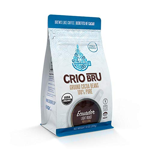 Crio Bru Brewed Cacao: Ecuador Light Roast (Coco River) 284g (10oz) Bag | 100% Pure Ground Cacao | Great Substitute to Herbal Tea and Coffee | Honest Energy | Keto Whole 30 Paleo Organic Non-GMO