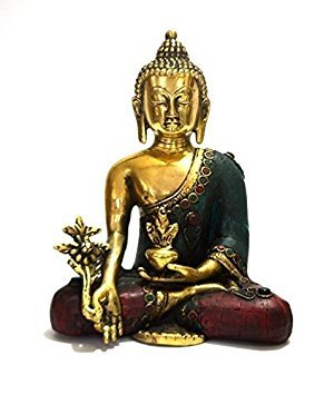 Aone India Thai Tibetan Medicine Buddha Statue-meditating Peace Harmony Buddhism Statue- Antique Style Jeweled Hand Made + Cash Envelope (Pack Of 10) by AONE INDIA