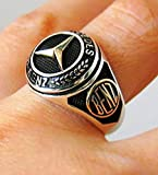 Handmade Mercedes Benz Ring, 925 Sterling Silver Men's Ring, MERCEDES Benz Logo Ring, Car Logo Ring, Unique Unisex Fine Jewelry, Two Tone Silver Oxidised Ring, 925 Sterling Solid Silver Ring