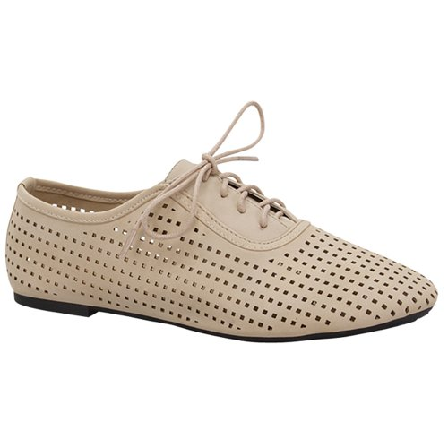 Top Moda CUTE-3 Womens Cut-out Lace-up Flats, Color:BEIGE, Size:7.5
