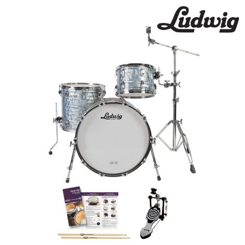 Ludwig Maple Classic Drum - Ludwig USA FAB22 Classic Maple 3 Piece Drum Shell Pack with Accessories, Sky Blue Pearl (JF-L8303AV52WC-KIT-01)