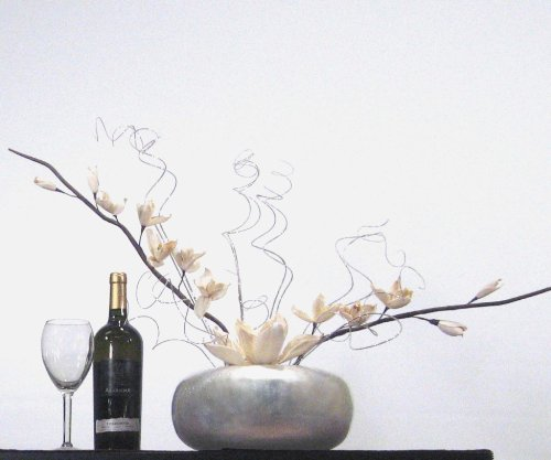 Round Silverleaf Bamboo Vase & White Sword Lilies (Curly Bamboo Arrangement)
