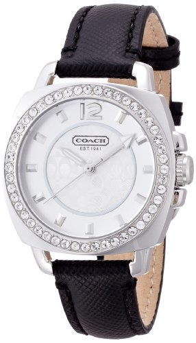 - Coach Womens 14501789 Mini Boyfriend Black Leather Crystal Glitz Watch