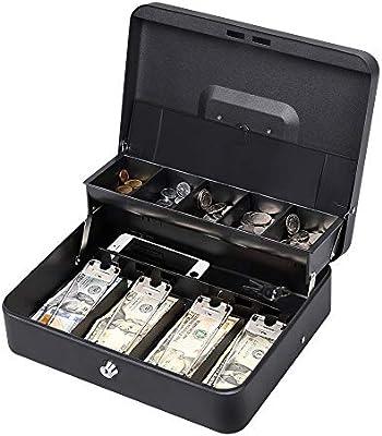 HAITRAL Caja de dinero de doble capa y 2 llaves para caja de seguridad con bandeja para dinero en efectivo (negro): Amazon.es: Oficina y papelería