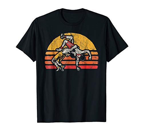 Vintage Wrestling Graphic T-Shirt - Two Wrestlers and Sun