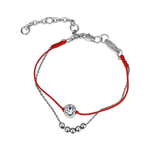 KEBINAI Europe and The United States Couple red Rope Bracelet Import The Crystal Beaded Double Bracelet cop,Platinum26322 by KEBINAI