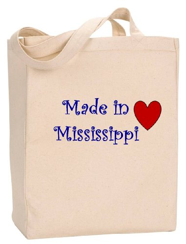 (MADE IN MISSISSIPPI - State Series - Natural Canvas Tote Bag with Gusset)