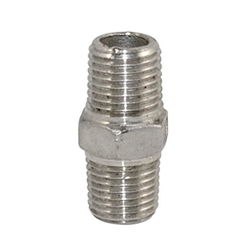 """SS 304 Stainless Steel 1/4"""" x 1/4"""" NPT Male Hex Nipple Pipe Threaded Pipe Fitting"""
