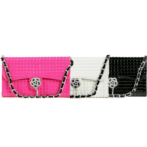 TORU iHand Handbag Clutch Wallet Case with Bling for iPhone 5 / 5S - Hot Pink