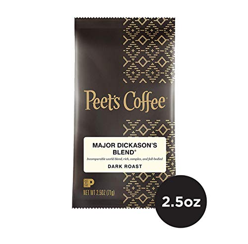 Peet's Coffee Major Dickason's Blend Dark Roast Ground Coffee, 2.5 Ounce Portion Packs (Pack of 18)