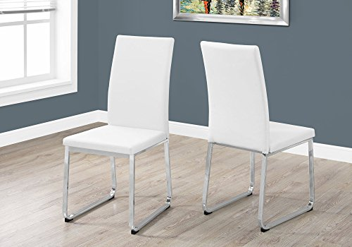 Monarch Specialties I Two Chairs, 28″L x 28″D x 38″H, White/Chrome