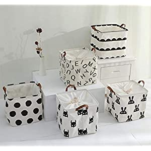 FIVE FLOWER 2pcs Foldable Storage Bins Waterproof Canvas Nursery Boxes for Shelves/Gift Baskets/Baby Shower Basket/Toy Organizer/Baby Room Decor (Dot)