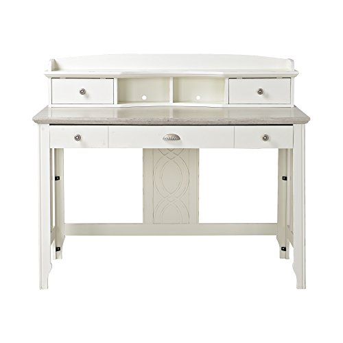 Homestar Charlotte Secretary Desk, 47.24' x 23.2' x 39.8', White