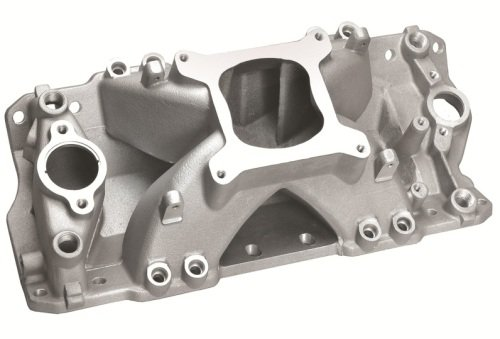 Professional Products 52039 Super Hurricane Satin Manifold with Injector Ports for Small Block Chevy