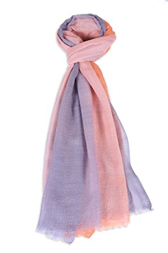 Zentopia cashmere blend handmade hand dye scarf 3-color ombre light weight (Gray and Orange) by Zentopia