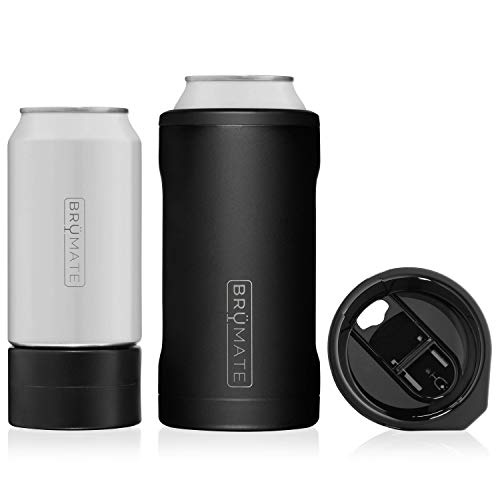 BrüMate HOPSULATOR TRíO 3-in-1 Stainless Steel Insulated Can Cooler, Works With 12 Oz, 16 Oz Cans And As A Pint Glass (Matte -
