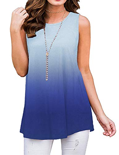 Summer Tank Tops for Women Sleeveless Shirts and Blouse Loose Fit Ombre Blue ()