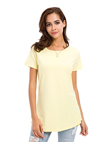 Armoire Cotton - MSHING Women's Short Sleeve Tunic Tops Loose Casual T-Shirt Blouse