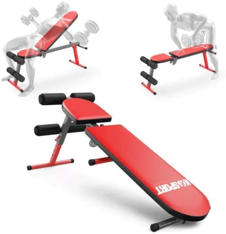 K-Sport Weight Bench Adjustable Incline Decline Flat Workout Bench 90 Degree Upright Home Training Sit up Gym Bench