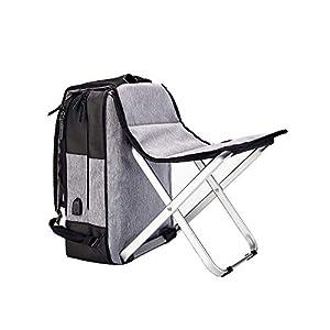 HYRL Outdoor Zaino, Multi-Funzione con Sedia Sgabello Computer Bag USB Ricarica Tempo Libero Pesca Zaino Business Travel Bag,Gray 1 spesavip