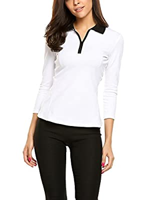 Goldenfox Zipup Polo T-Shirt for Womens Casual 3/4 Sleeve Dry Fit Activewear S-XL