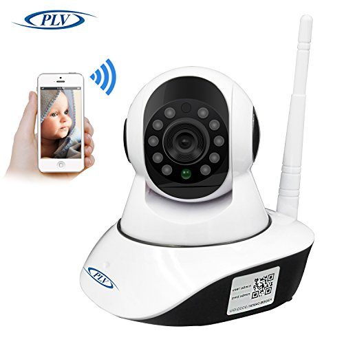 PLV 720P HD Robot WIFI IP Camera for Indoor Using Pan Tilt Day/Night Vision 2 Way Audio SD Card Slot Motion Detection Free APP Support 9 Languages One Key to Move. (SD-card not Included)
