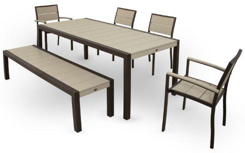 Textured Bronze Outdoor Furniture - Trex Outdoor Furniture TXS124-1-16SC Surf City 6-Piece Dining Set, Textured Bronze/Sand Castle
