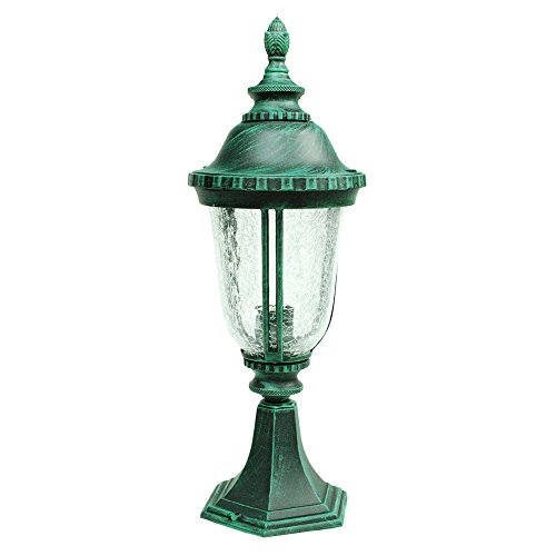 ETOPLIGHTING Bellagio Collection Exterior Outdoor Post Pillar Lantern with Hammered Glass, Verde Green APL1032 For Sale