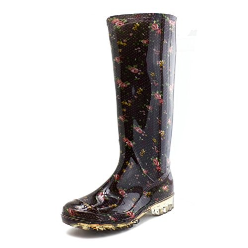 Womens Basic Outdoor Yard Rain Shoes (Black) - 2