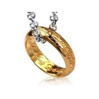El El Hobbit - El Se?or de los Anillos - the lord of the ring-El Anillo ¨²nico en Joyas - cadena 40cm (dorado)