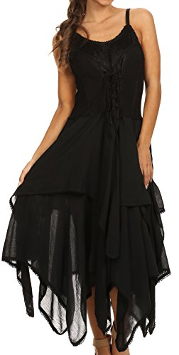 Sakkas 9031 Lady Mary Jacquard Corset Style Bodice Lightweight Handkerchief Hem Dress - Black - One Size