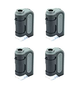 Carson MicroBrite Plus 60x-120x Power LED Lighted Pocket Microscope - Set of 4 (MM-300MU)