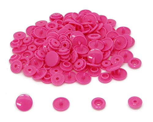 (100 Sets KAM Size 20 T5 Resin Plastic Snaps Buttons Fasteners Punch Poppers for Cloth Diaper/Bibs/Unpaper Towels/Nappies/Buttons/Mama Pads (B47 - Neon Pink))
