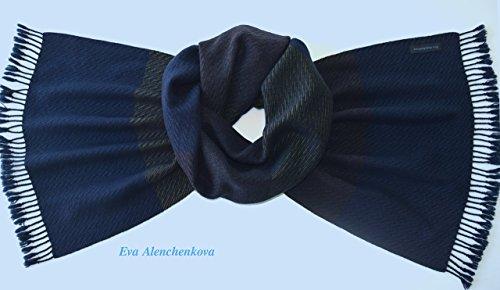 Men's Silk Cashmere Winter Blue Green Brown Hand Woven Scarf by Eva Alenchenkova