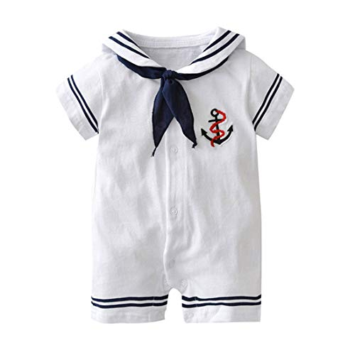 stylesilove Baby Boy Marine Sailor Costume Short Sleeve Romper Onesie Outfit Holiday Special Occasion Baby Clothing (M/6-12 Months) White