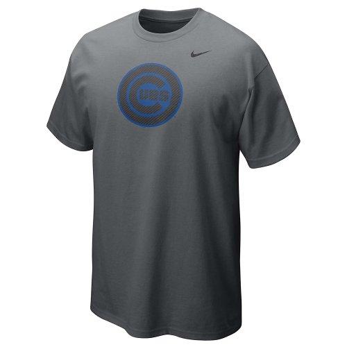 Nike Chicago Cubs CG Carbon Fiber Circle Name Logo 12 Men's T-Shirt (Medium, Anthracite-Blue)