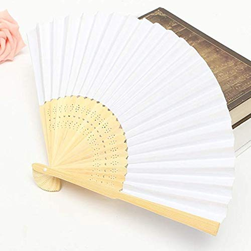 50 Pack- White Folding Paper Handheld Fans Bamboo Handle White Paper Fan for Weddings Bulk Paper Folded Fan