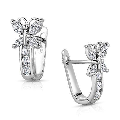 Girls 925 Sterling Silver Butterfly Huggie Earrings ()