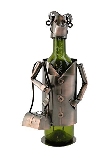 WINE BODIES Doctor Surgeon Metal Wine Bottle Holder Character, Copper For Sale