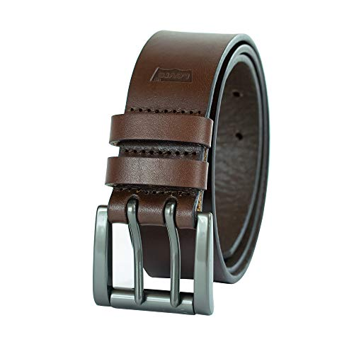 Levi's Men's Work Belt - Heavy Duty Thick Wide Soft Leather Strap with Silver Double Prong Buckle-Brown, 38 (Silver For Belts Men)