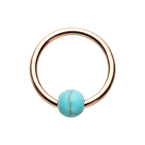 16G Rose Gold Synthetic Turquoise Bead Inspiration Dezigns Captive Ring (16G, Length: 5/16