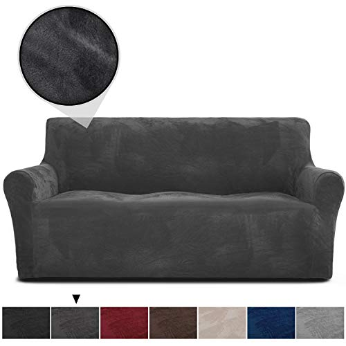 RHF Velvet-Sofa Slipcover, Stretch Couch Covers for 3 Cushion Couch-Couch Covers for Sofa-Sofa Covers for Living Room,Couch Covers for Dogs, Sofa Slipcover,Couch slipcover(Dark Grey-Sofa)