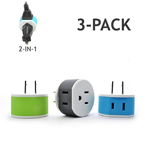 Orei US-6 Japan, Philippines Travel Plug Adapter - 2 USA Inputs - 3 Pack - Type A