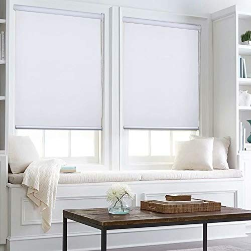 Kingmond 100% Blackout Thermal Insulated Waterproof Fabric Privacy Protection Customized Window Roller Shades,69″ W x 76″ L, White