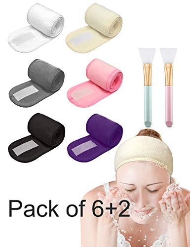 (EURICA Spa Headband Hair Wrap Sweat Headband Head Wrap Hair Towel Wrap Non-slip Stretchable Washable Makeup Headband for Face Wash Facial Treatment Sport Pack of 6 with 2 Facial Mask Brush Fits All )