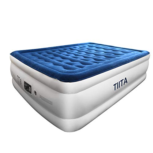 TIITA Queen Air Mattress with Built-in Pump, No Leakage Raised Inflatable Air Bed for Home Camping Travel, Blow up Bed Height:20