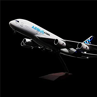 "24-Hours 18"" 1:130 Airplane Model Airbus 380 with LED Light(Touch or Sound Control) for Decoration or Gift"