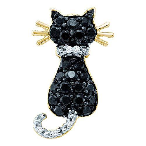 Dazzlingrock Collection 14kt Yellow Gold Womens Round Black Color Enhanced Diamond Kitty Cat Feline Pendant 1/3 Cttw