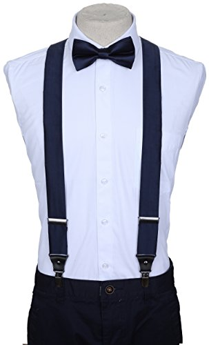 Marino Suspenders and Bow Tie Set - Dress Suspenders For Men - Silk-Like Pants Suspenders - Navy - 60