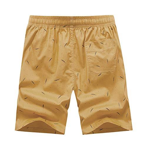 (iCODOD Men's Shorts, Fashion Sweatpants Beach Shorts Printing Patchwork Swimming Loose Short Pants(Yellow,40))